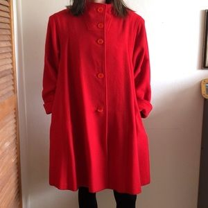 Vintage 80s aquarama red wool blend peacoat jacket
